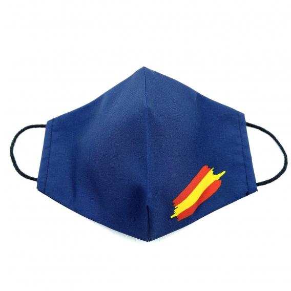 Mascarilla para adulto, hombre y mujer, de tela color azul marino con la bandera de España, con apertura de filtro.
