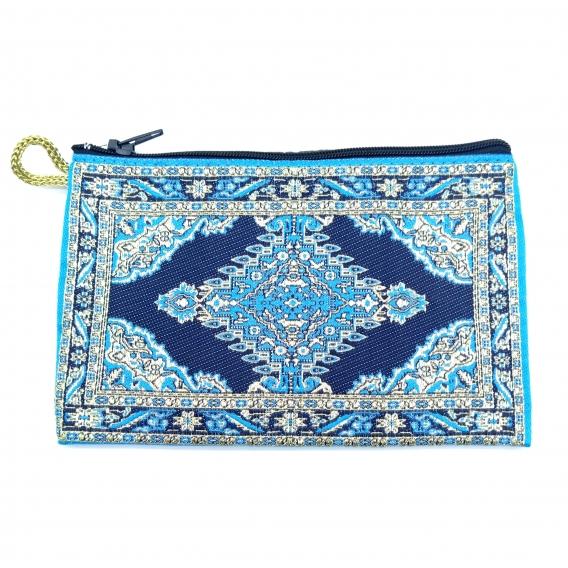 Monedero turco de mujer con cremallera de tela con tonos azules con dorado, gran diseño.