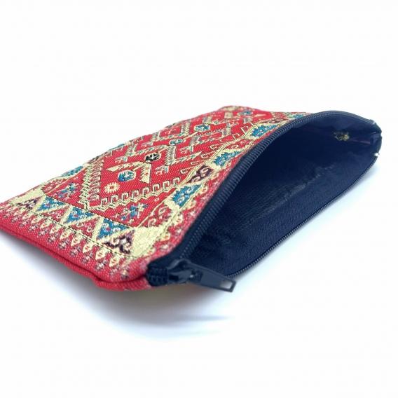 Monedero turco estampado en colores rojo, azul, negro y blanco 15x9cm