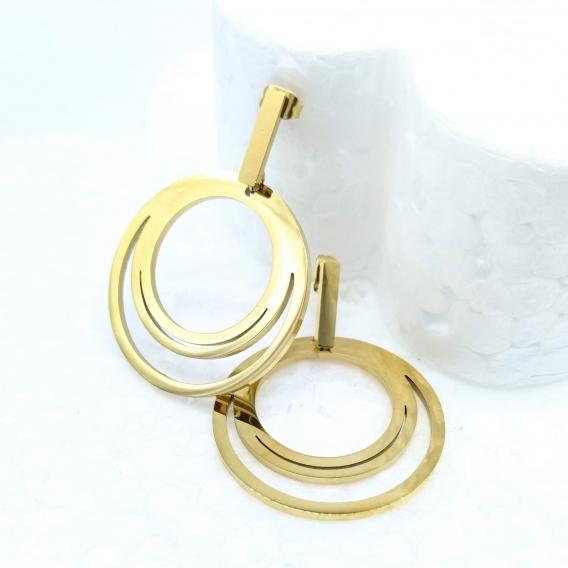 Pendientes de aro para mujer color oro diseño original con dos circunferencias..