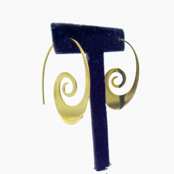 Pendientes largos de mujer de color oro, diseño original en espiral, de acero inoxidable.