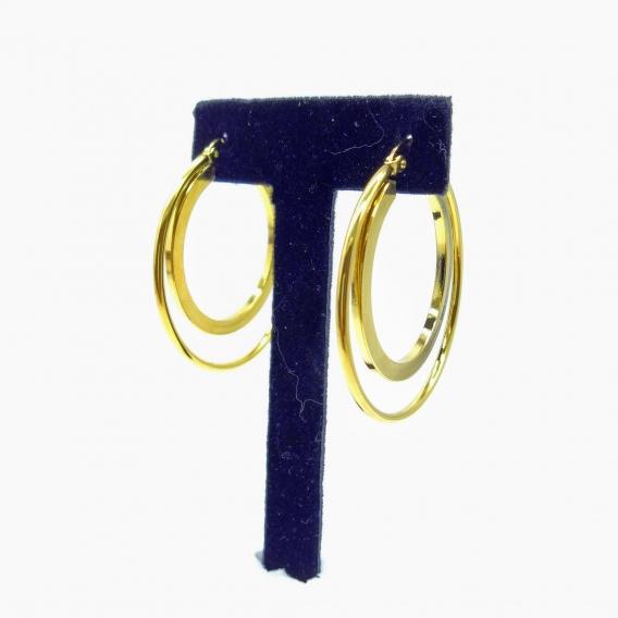 Pendiente de doble aro para mujer de acero inoxidable color dorado, joya para regalo.