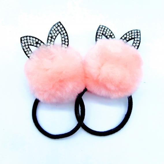 Accesorio para pelo de goma rosa maquillaje pompom pack de 2X