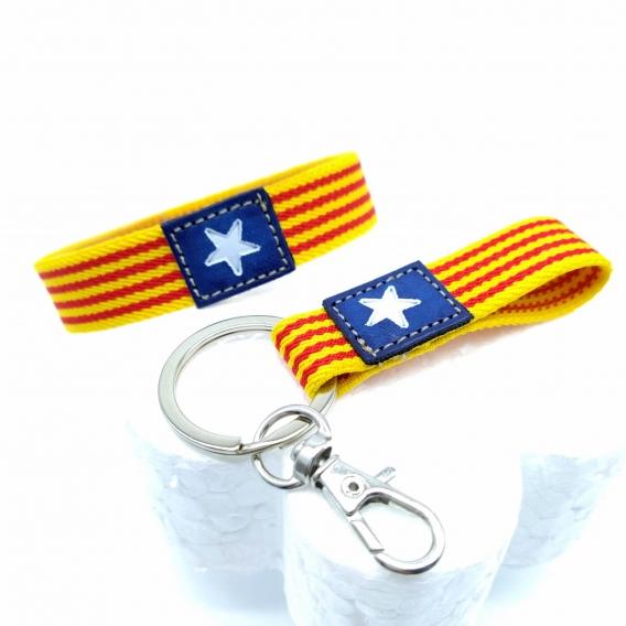Pulsera y llavero de la bandera Cataluña, conjunto.