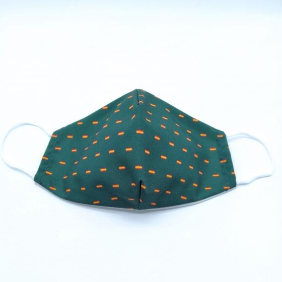 Mascarilla reutilizable facial de tela con la bandera de España, diseño original, lavable con apertura para filtro.
