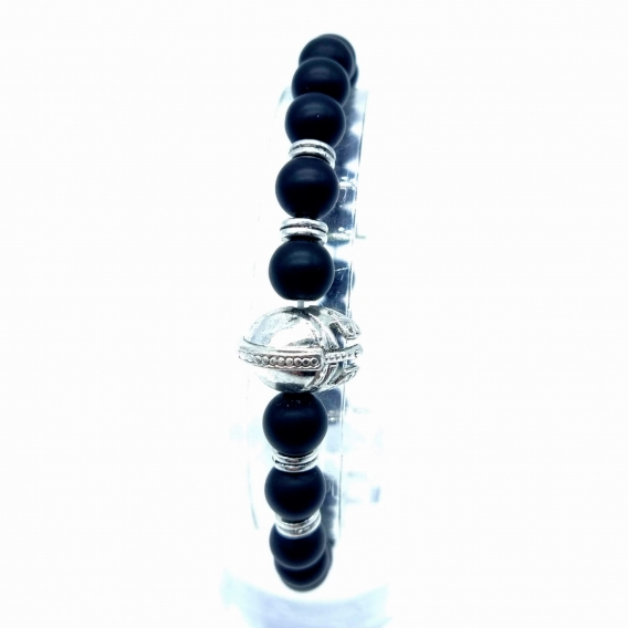 Pulsera casco guerrero con piedras negras