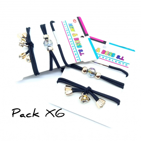 Pack de 6 coleteros negros con bolitas para el pelo de mujer o niña