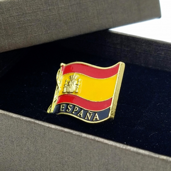 Pin dorado con la bandera de España para hombre o mujer