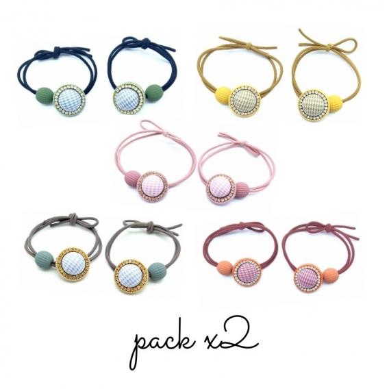 Gomas de pelo originales de abalorios con brillos en diferentes colores. Pack x2