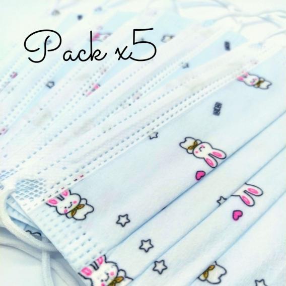 Pack 5 de mascarillas infantil para niño en color azul con dibujos de conejitos