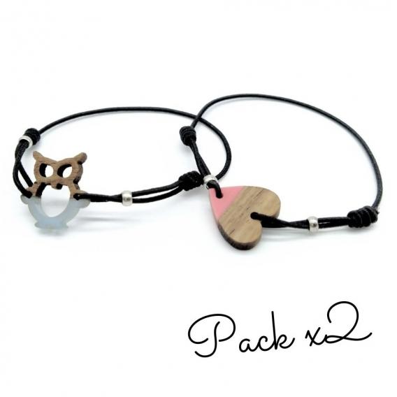 Pulsera de corazón y búho para niña y mujer un regalo original. Pack x2