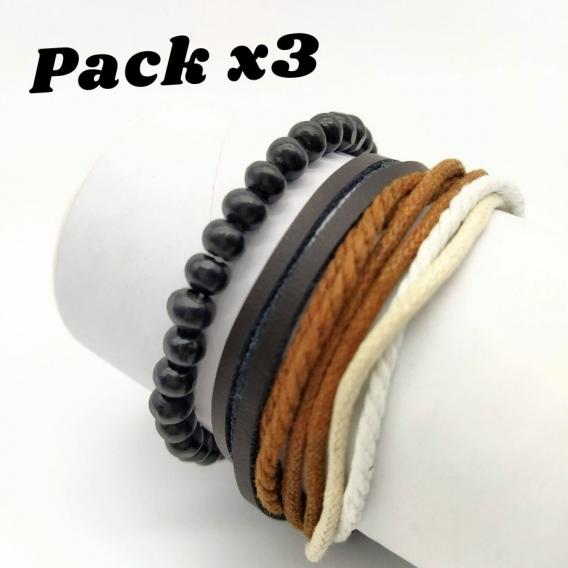 Pulseras para hombre de cuero y cordón. Pack x3