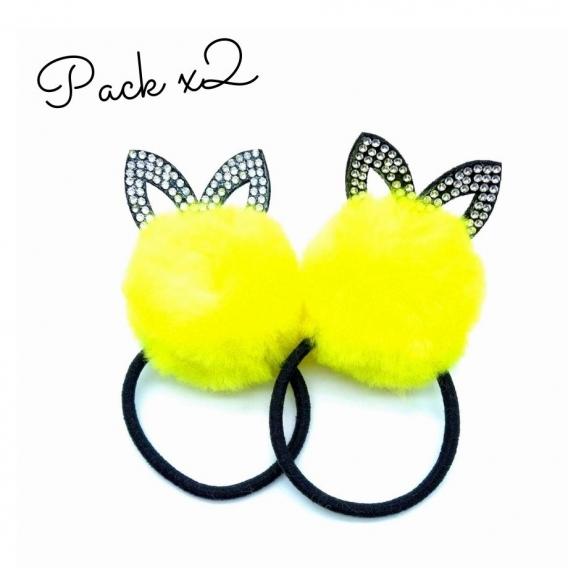 Coletero pack de 2 de pompom con orejitas para niñas amarillo