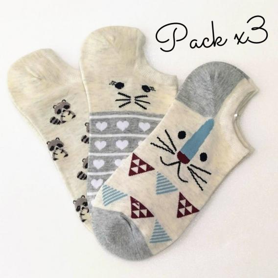 Calcetines pack de 3 con estampado de animales en la talla 35-41 para mujer