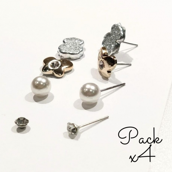 Pack de 4par Tendencia de perla pendientes pequeños de mujer perla redonda blanca boda colgante pendientes joyería
