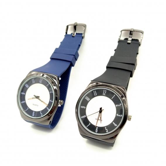 Reloj analógico elegante con correa negra o azul para hombre o mujer