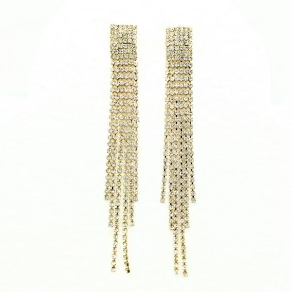 Pendientes grandes largos con colgantes de brillantitos en color plata o dorado