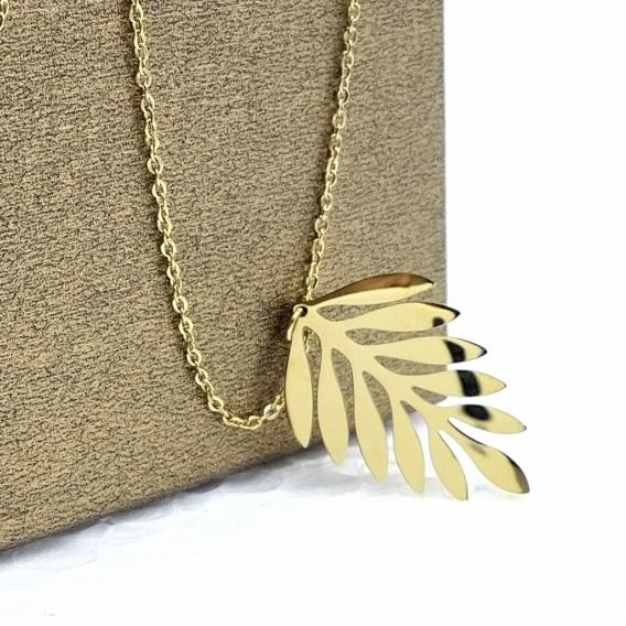 Collar dorado en forma de hoja de acero inoxidable para mujer