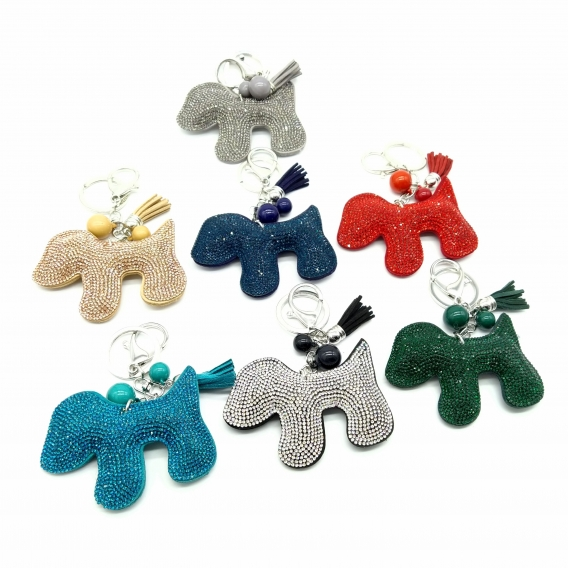 Llavero de anilla en forma de perro con brillantes en diferentes colores para mujer o niña