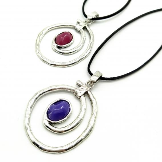 Collar Plateado en espiral con piedra de color para mujer de moda vintage