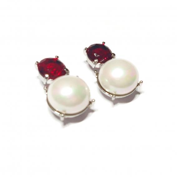 Pendientes de mujer con perla y cristal brillante de colo rojo de moda Marca BDM