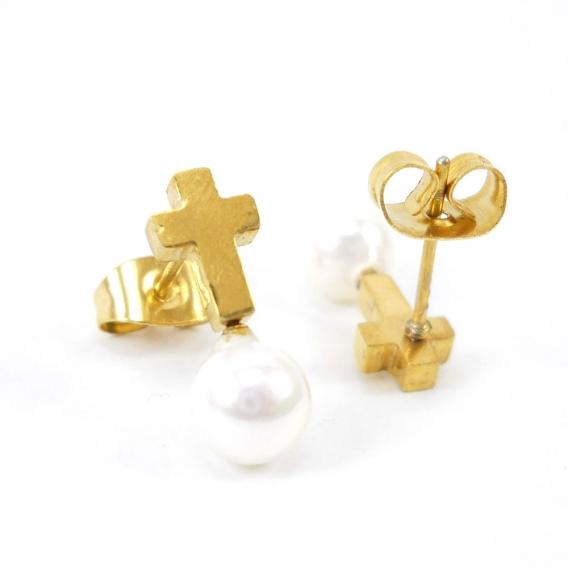 Pendientes para mujer de acero inoxidable joyeria antialergia de moda de cruz con perla de nacar