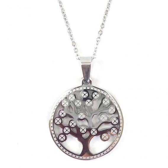 Collar Swarenky con grabado de árbol de la vida de acero inoxidable