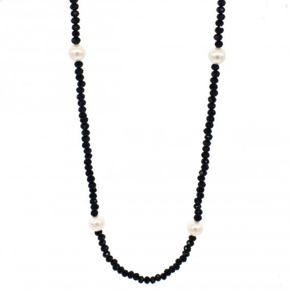 Collar de mujer femenino perlas y cuentas negras de cristal y perlas de nacar