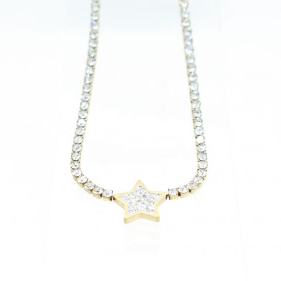 Collar de mujer de acero con circonita, forma de estrella . Un regalo original.