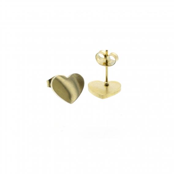 Pendientes de moda para mujer con forma de corazon dorados lisos originales ligero acero inoxidable