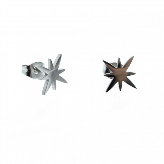 Pendientes estrella rockera color plata acero