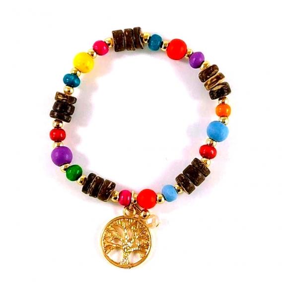 Pulsera del arbol de la vida elastica para mujer de colores moderna con abalorios y madera de cuentas bisuteria de moda