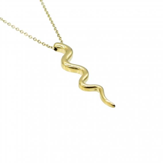 Collar de serpiente color dorado con cadenilla para mujer de acero inoxidable