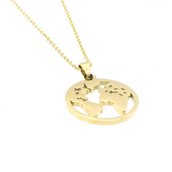 Collar diseño mapa del mundo dorado de acero para mujer