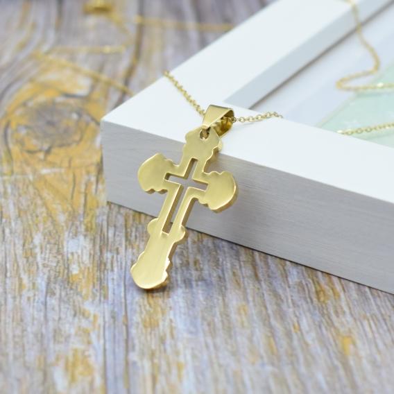 Collar de cruz color oro colgante religioso para hombre y mujer dorado. 55cm