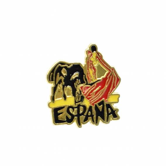 Pin con un torero y la palabra España.