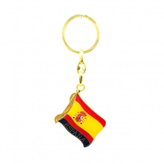 Llavero con forma de bandera de España color dorado para coche.