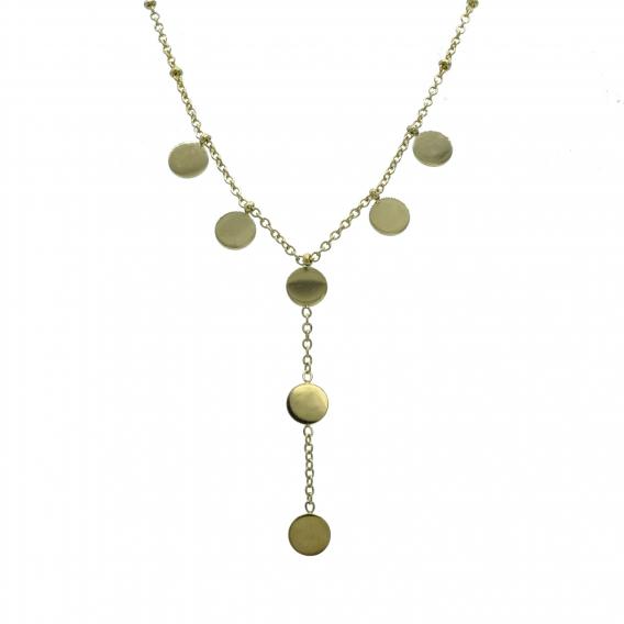Collar con circulos colgando de color dorado fino y elegante.