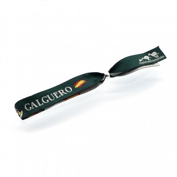 Pulsera galguero de tela en color verde oscuro o rosa con dibujo de galgo y bandera de España para hombre o mujer