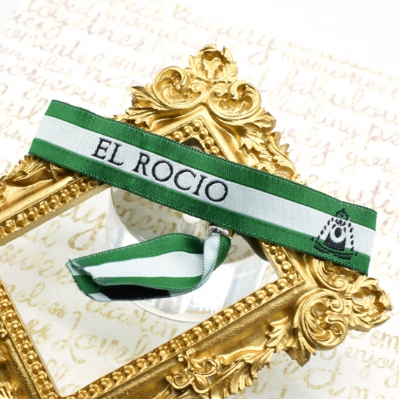 Pulsera del Rocío de tela con dibujo de la Virgen y bandera de Andalucía ajustable para hombre o mujer
