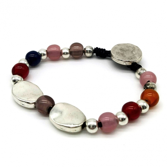 Pulsera para mujer de abalorios con piedras de colores y cuero