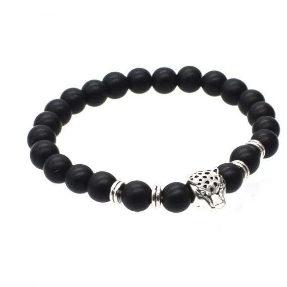 Pulsera leopardo piedra negra para hombre.