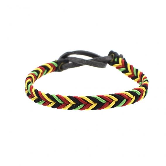 Pulsera de hilo trenzado de reggae en color rojo, amarillo, verde y negro con cierre ajustable