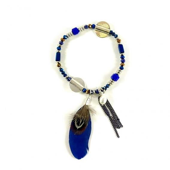 Pulsera con plumas azul y perla colgante de mujer joyeria de moda para mujer bisuteria de moda BDM