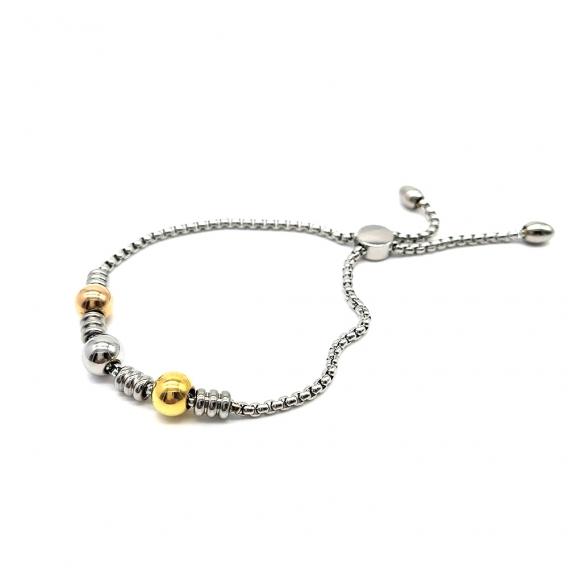 Pulsera para mujer ajustable de acero inoxidable, tono tres oros. Una joya de moda.