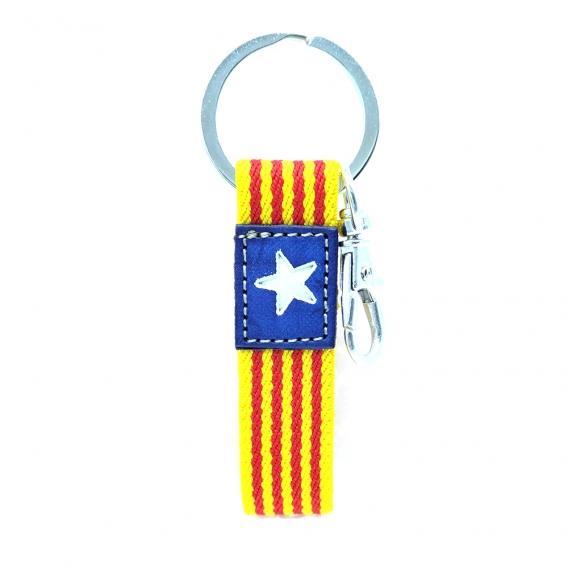 Llavero de tela con la bandera de Cataluña en tamaño pequeño