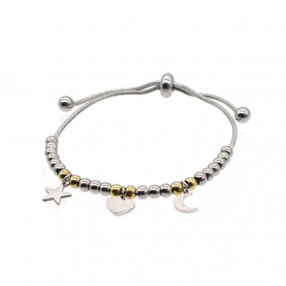 Pulsera de acero con luna estrella y corazon colgantes ajustable color plata y oro