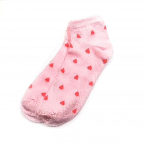 Calcetín con estampado de corazones en color rosa de algodón en la talla 35-40 para mujer