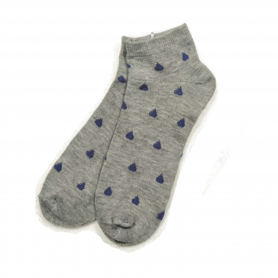 Calcetines corto de algodón grises con dibujo de gotas talla única 35-40