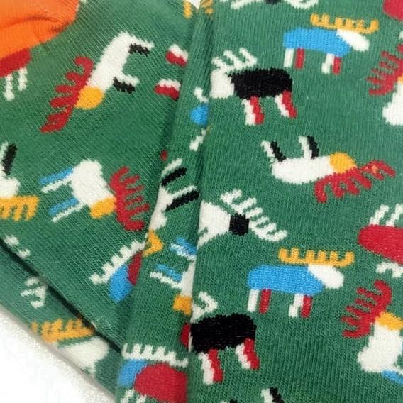 Calcetines de colores y estampado de renos para hombre y mujer talla 40-46